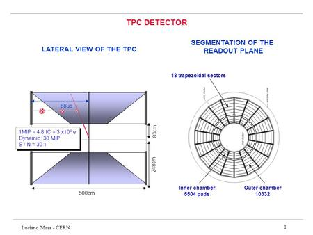 TPC DETECTOR SEGMENTATION OF THE READOUT PLANE LATERAL VIEW OF THE TPC