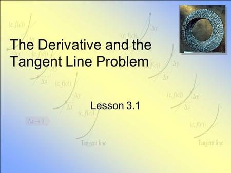 The Derivative and the Tangent Line Problem Lesson 3.1.