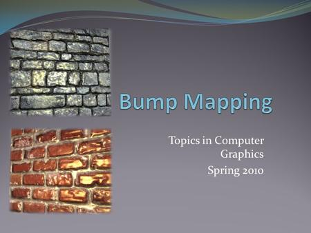 Topics in Computer Graphics Spring 2010. Application.