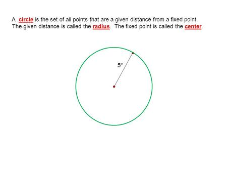 A circle is the set of all points that are a given distance from a fixed point. The given distance is called the radius. The fixed point is called the.