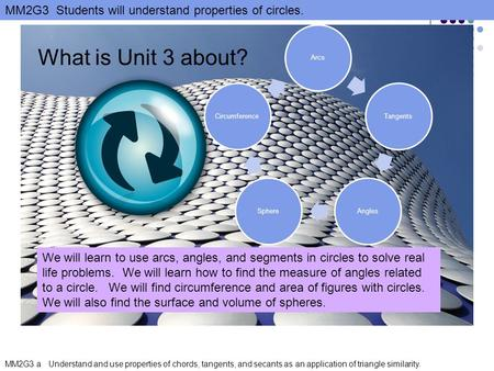 Arcs Tangents Angles Sphere Circumference What is Unit 3 about?
