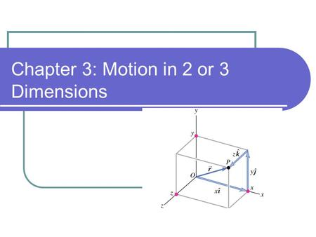 Chapter 3: Motion in 2 or 3 Dimensions. Position & Velocity Vectors.