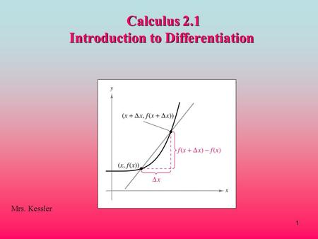 Calculus 2.1 Introduction to Differentiation