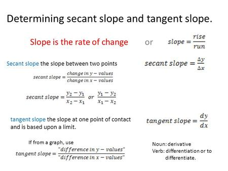 Determining secant slope and tangent slope. Slope is the rate of change or Secant slope the slope between two points tangent slope the slope at one point.