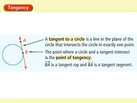 Tangency. Lines of Circles EXAMPLE 1 Identify special segments and lines Tell whether the line, ray, or segment is best described as a radius, chord,