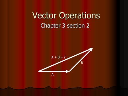 Vector Operations Chapter 3 section 2 A + B = ? B A.