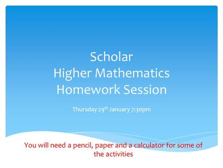Scholar Higher Mathematics Homework Session