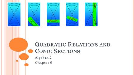 Q UADRATIC R ELATIONS AND C ONIC S ECTIONS Algebra 2 Chapter 9.