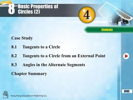8 8.1Tangents to a Circle 8.2Tangents to a Circle from an External Point Chapter Summary Case Study 8.3Angles in the Alternate Segments Basic Properties.