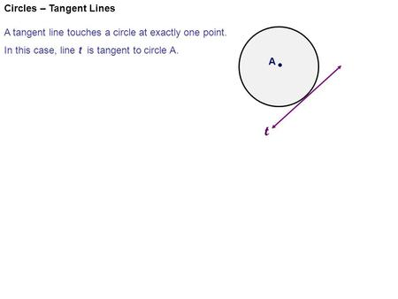 Circles – Tangent Lines A tangent line touches a circle at exactly one point. In this case, line t is tangent to circle A. t A.