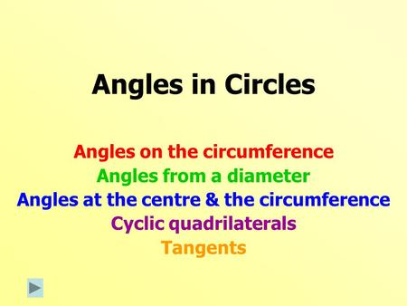 Angles in Circles Angles on the circumference Angles from a diameter Angles at the centre & the circumference Cyclic quadrilaterals Tangents.