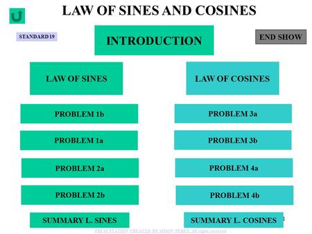 1 INTRODUCTION LAW OF SINES AND COSINES LAW OF SINES LAW OF COSINES PROBLEM 1b PROBLEM 1a PROBLEM 2a PROBLEM 2b PROBLEM 4b PROBLEM 4a PROBLEM 3b PROBLEM.