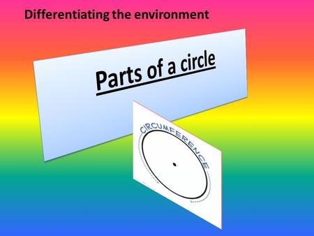 Differentiating the environment. Learning intention: Today we will be learning about the parts of a circle. We will discover circles outside the classroom.