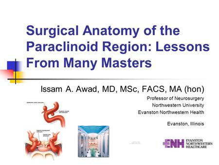Surgical Anatomy of the Paraclinoid Region: Lessons From Many Masters Issam A. Awad, MD, MSc, FACS, MA (hon) Professor of Neurosurgery Northwestern University.