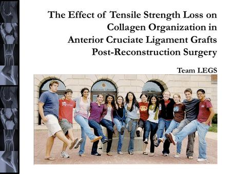 The Effect of Tensile Strength Loss on Collagen Organization in Anterior Cruciate Ligament Grafts Post-Reconstruction Surgery Team LEGS.
