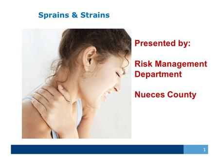 Sprains & Strains 1 Presented by: Risk Management Department Nueces County.