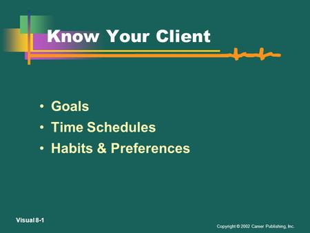 Copyright © 2002 Career Publishing, Inc. Visual 8-1 Know Your Client Goals Time Schedules Habits & Preferences.