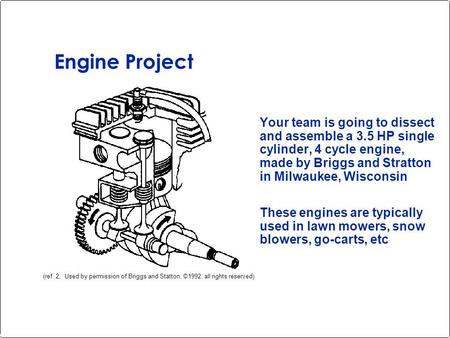 Engine Project Your team is going to dissect and assemble a 3.5 HP single cylinder, 4 cycle engine, made by Briggs and Stratton in Milwaukee, Wisconsin.