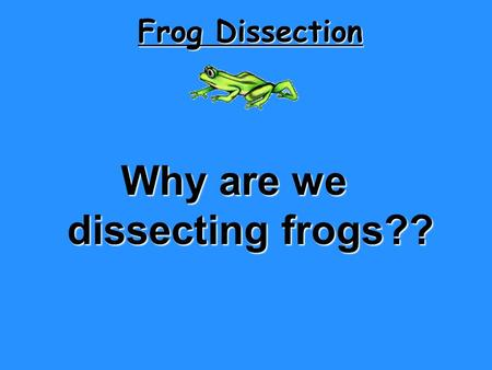Why are we dissecting frogs??