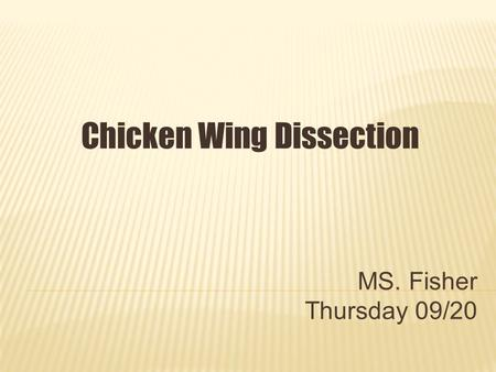 MS. Fisher Thursday 09/20 Chicken Wing Dissection.