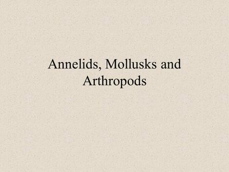 Annelids, Mollusks and Arthropods. Announcements There will be a quiz next lab that covers materials from annelids and echinoderms. Assignment for this.