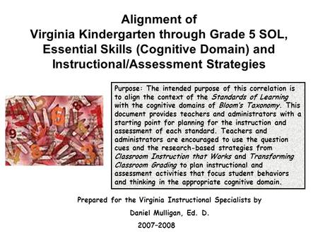 Alignment of Virginia Kindergarten through Grade 5 SOL, Essential Skills (Cognitive Domain) and Instructional/Assessment Strategies Purpose: The intended.
