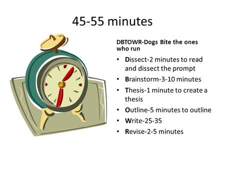 45-55 minutes DBTOWR-Dogs Bite the ones who run Dissect-2 minutes to read and dissect the prompt Brainstorm-3-10 minutes Thesis-1 minute to create a thesis.