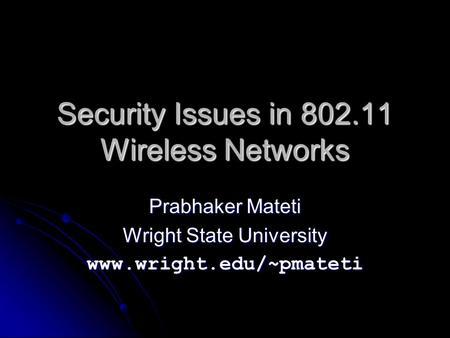 Security Issues in Wireless Networks