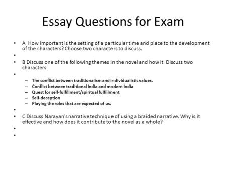 Essay Questions for Exam