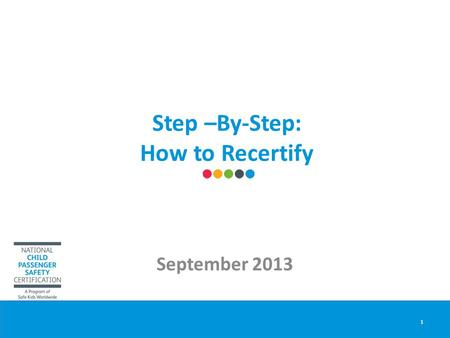 Step –By-Step: How to Recertify September 2013 1.