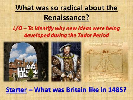 What was so radical about the Renaissance? L/O – To identify why new ideas were being developed during the Tudor Period Starter – What was Britain like.