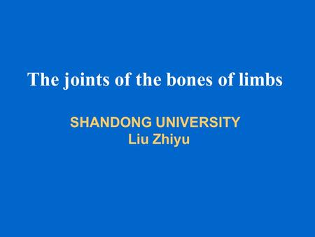 The joints of the bones of limbs SHANDONG UNIVERSITY Liu Zhiyu