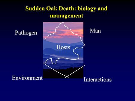 Sudden Oak Death: biology and managementPathogen Hosts Environment Interactions Man.