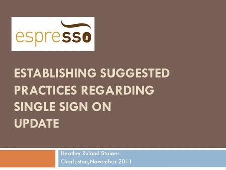 ESTABLISHING SUGGESTED PRACTICES REGARDING SINGLE SIGN ON UPDATE Heather Ruland Staines Charleston, November 2011.
