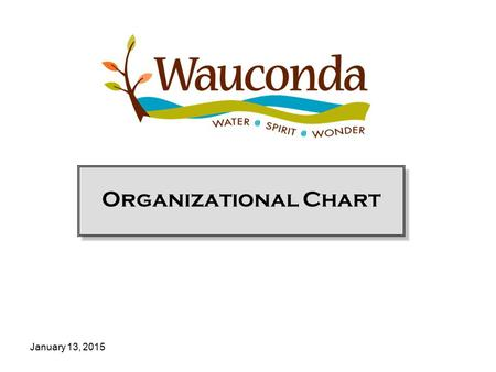 January 13, 2015 Organizational Chart. Village of Wauconda Management Chart 2013 Village Government Frank Bart, Mayor Lincoln F. Knight, Trustee John.