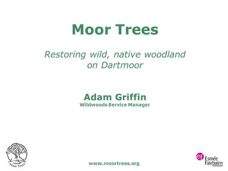 Www.moortrees.org Moor Trees Restoring wild, native woodland on Dartmoor Adam Griffin Wildwoods Service Manager.