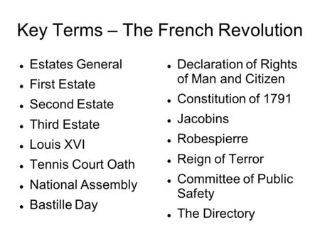 Key Terms – The French Revolution Estates General First Estate Second Estate Third Estate Louis XVI Tennis Court Oath National Assembly Bastille Day Declaration.