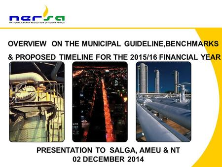 OVERVIEW ON THE MUNICIPAL GUIDELINE,BENCHMARKS