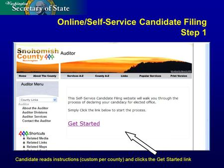 Online/Self-Service Candidate Filing Step 1 Candidate reads instructions (custom per county) and clicks the Get Started link.