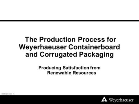 The Production Process for Weyerhaeuser Containerboard and Corrugated Packaging Producing Satisfaction from Renewable Resources slidelib\cbp\process (1)