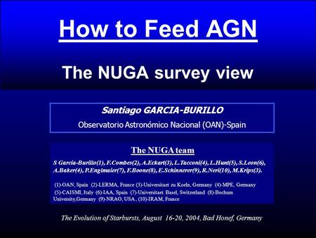 How to Feed AGN The NUGA survey view Santiago GARCIA-BURILLO Observatorio Astronómico Nacional (OAN)-Spain The NUGA team S García-Burillo(1), F.Combes(2),