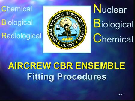 2-3-1 N uclear B iological C hemical AIRCREW CBR ENSEMBLE Fitting Procedures Chemical Biological Radiological.