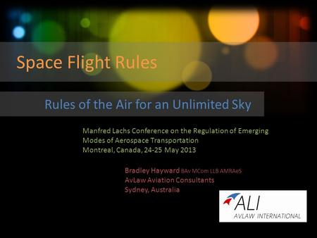Space Flight Rules Rules of the Air for an Unlimited Sky