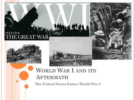 W ORLD W AR I AND ITS A FTERMATH The United States Enters World War I.