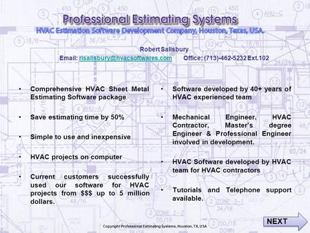 Copyright Professional Estimating Systems, Houston, TX, USA