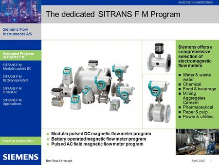 Automation and Drives Siemens Flow Instruments A/S The Flow Force.ppt April 2007 1 Dedicated Program SITRANS F M Modular pulsed DC SITRANS F M Battery.