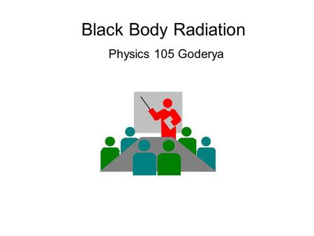 Black Body Radiation Physics 105 Goderya. Need for Quantum Physics Classical mechanics and relativity cannot explain Blackbody Radiation –The electromagnetic.