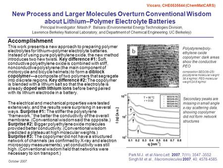 October 2007 New Process and Larger Molecules Overturn Conventional Wisdom about Lithium–Polymer Electrolyte Batteries Principal Investigator: Nitash P.