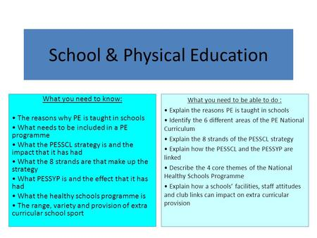 School & Physical Education
