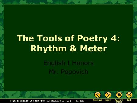 The Tools of Poetry 4: Rhythm & Meter
